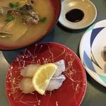 回転寿司横綱 - 貝汁と桜鯛、いわし