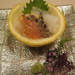 割烹 福助 - 海老、イカ、鮑の刺し盛り