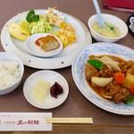 83831550 - 日替わりランチ  鶏肉の黒酢炒め 揚げ物 付け合わせ スープ ごはんのセット¥870
