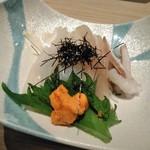 おたる政寿司 - [料理] いか素麺 (生雲丹付) プレート全景♪w