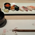 おたる政寿司 - [料理] お吸い物 & この日のお勧め7貫 全景♪w