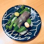 83854030 - 春野菜。アスパラの生ハム巻き、菜の花、スナップエンドウ。