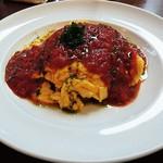 ブラッセルズ - ふわとろ卵のオムライス トマト&バジル 1,000円(大盛無料)