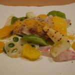 83881059 - 前菜 シマアジの軽い炙りと筍などの春野菜