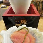 柚 - お通しは自家製の辛子明太子。 りんごやパイン、人参で漬け込んでいるそうで、あまり辛くない明太子です。