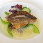 83889861 - 本日の魚料理~メバルのポワレ サフランのソース ホタルイカ
