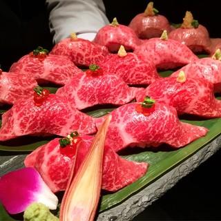 """""""尾崎牛の寿司五種盛り合わせ""""です。※写真は3人前です。"""