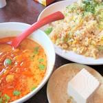 長秀龍 - <参考>満腹セット②鮭と青のりチャーハン担々麺