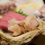 魚がし厨房 湊屋 - 【お刺身三点盛り@1,480円+税】つぶ貝&鮪赤身