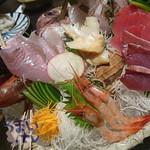 よね蔵 - お造り八点盛り合わせ 2,880円+税   真鯛、天然ブリ、ほうぼう、まぐろ、 つぶ貝、南蛮海老、真イカ、もくかれい