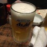かわ屋 - 生ビール(中) 500円