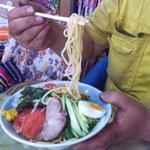 玉蘭 - 冷し麺 麺のリフトアップ。 ボリュームがあることが分かりましょう。