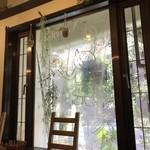 洋食ますだ - 窓に描かれたニャンコ(2018.4.10)
