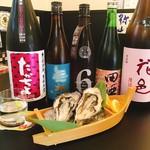 北海道海鮮市場 がんがん。 - 生牡蠣と日本酒は最高です。