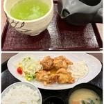 どんちゃん亭 - 料理写真:チキン南蛮定食(入浴付き)1200円・お茶 30円