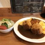 洋食の藤 - 今回は、オムライスとカニクリームコロッケのセットです(2018.4.11)