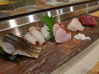 潮り - お刺身盛り合わせ(炙りしめ鯖、生ホッケ、炙り金目鯛、平目、マグロ赤身)