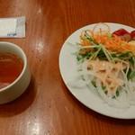 アサヒスーパードライ - サラダと野菜スープ