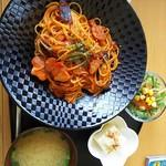 ふるさと味覚館 宙 - ベーコンと茄子のアラビアータ1200円