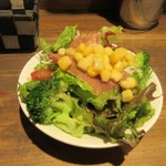 テンジンバル タケノヤ - 先ずはお肉が焼きあがるまで最初はミニサラダ150円でお腹を癒しました。