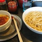 勢拉 - つけ麺(中盛)・麺硬め・ネギ多目・極太黒メンマトッピング