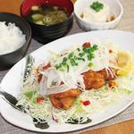 満天食堂 - 三種の葱の油淋鶏定食