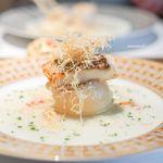 創作料理 宿 - カブのファルシー、 鯛のロースト、 カダイフ、 カニのソース