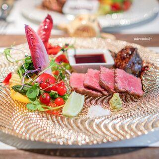 創作料理 宿 - 黒毛和牛サーロインのポワレ、 ガチョウのフォアグラのポワレ、 ポルト酒のソース