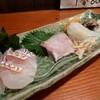 厚田村 - 料理写真:お刺身盛り合わせ(真鯛、石鯛、スミイカ、生とり貝)