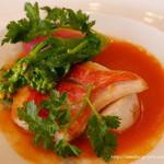 メリメランジュ - 本日の魚料理 シェフサジェスションソース  金目鯛のポワレに小エビのメリケーヌソース