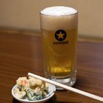 角一 - 2018.4 生ビール中(500円)、ポテトサラダ(お通し)