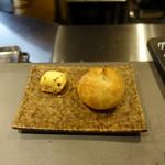 サンフォコン - アミューズの海老のキッシュと自家製パン