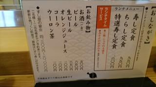 寿司海鮮 たはら - メニュー