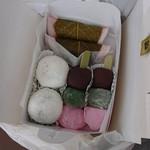 寿福 - お友達が買ってきてくれたときの写真で、くるみ饅頭が新感覚で美味しかったです!お団子はとろけるように柔らかかったです♡