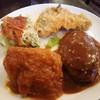 コビアン - 料理写真:日替りランチ 800円 若鶏のトマト煮、ハンバーグ、アジフライ