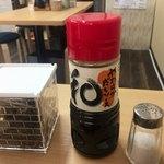 色葉うどん - 天ぷら用のかけソース、出汁がきいててよく合います。 お塩も出されます。佃煮はサービス