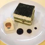 プラススクレート - 和テイスト・抹茶きなこケーキ_かわいいキャラクターウエハース付で提供します