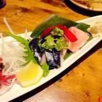 84091755 - 釧路産〆鯖、せたな産サメガレイ刺