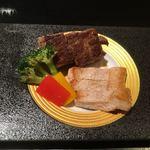 京ごはんと鉄板焼き 京月 - ◆黒毛和牛サーロインステーキとアグー豚の鉄板焼き
