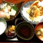 いざけ屋ひなた - よくばり定食(カキと野菜の天プラ盛り合わせ)900円 CPよいと思います(*^^*)