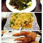 京味居 - サービスで頂いたキクラゲの冷菜・干し豆腐炒め・手羽先の串焼き