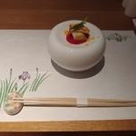 Kushiageshunkashuutou - 先付_鴨と下仁田葱のビーツ味噌