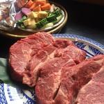 りゅうそう茶屋 - 団体様用バーベキューのお肉とお野菜盛り