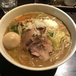 麺や豊 - ベジ味噌 + 半熟玉子