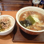 麺屋 えぐち - 高菜ごはん+中華そば大盛り