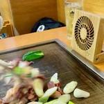 スタミナとん - 焼き始めに、専用の扇風機をこの位置にセットし、湯気などが客側(サイド)に流れないようにしている。