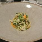 リストランテ カノフィーロ - 真鯛とタンポポ、青さのりのソース タリオリーニ