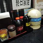 花ごよみ - 卓上常備品:和辛子、コショウ、ラー油、餃子のタレ、 醤油、塩、一味