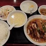 広州厨房 - Cセット 若鶏のニラソース