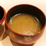 鮓 ふじなが - ボタン海老頭、きんき、のどぐろ、金目でとった出汁の味噌汁